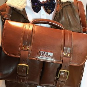 Cole Haan Leather Messenger Briefcase Saddlebag